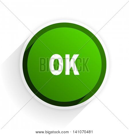 ok flat icon with shadow on white background, green modern design web element