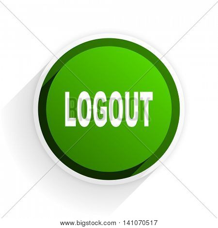 logout flat icon with shadow on white background, green modern design web element