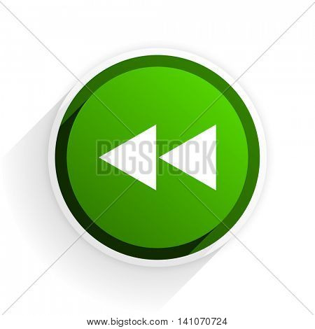 rewind flat icon with shadow on white background, green modern design web element