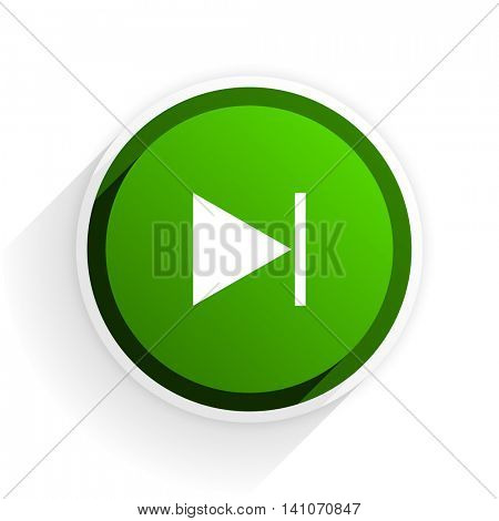 next flat icon with shadow on white background, green modern design web element