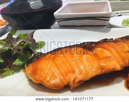 Japanese food ,sushi roll and salmon salt roasted.