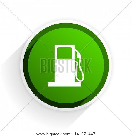 petrol flat icon with shadow on white background, green modern design web element