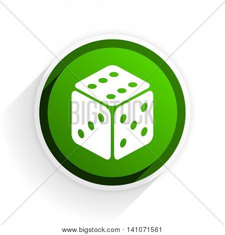 game flat icon with shadow on white background, green modern design web element