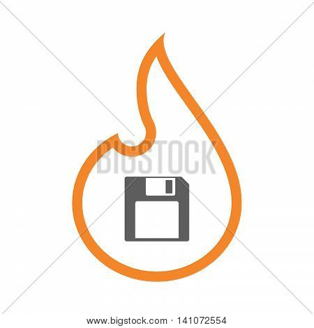 Isolated Line Art Flame Icon With A Floppy Disk