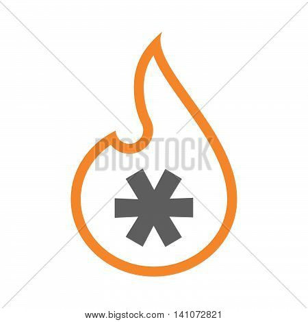 Isolated Line Art Flame Icon With An Asterisk