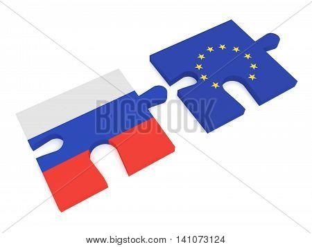Partnership Russia and EU: Puzzle Pieces Russian flag and EU Flag 3d illustration