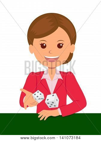 Cute girl in red suit throws dice on a game table. Casino games. Isolated vector illustration.