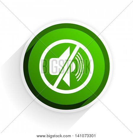 mute flat icon with shadow on white background, green modern design web element