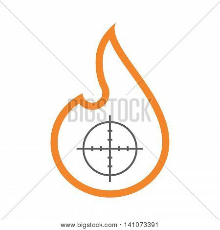 Isolated Line Art Flame Icon With A Crosshair