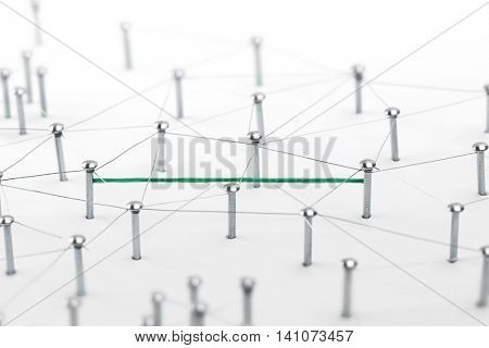 Linking entities. Hotline, VPN tunneling, dedicated line, Network, networking, social media, connectivity, internet communication abstract. Fat green wire in a web of silver wires on white background.