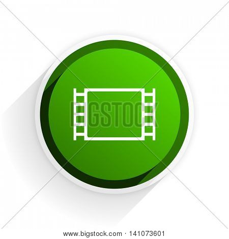 movie flat icon with shadow on white background, green modern design web element