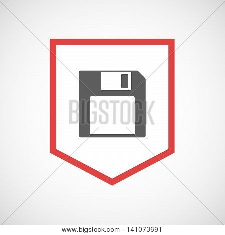Isolated Line Art Ribbon Icon With A Floppy Disk