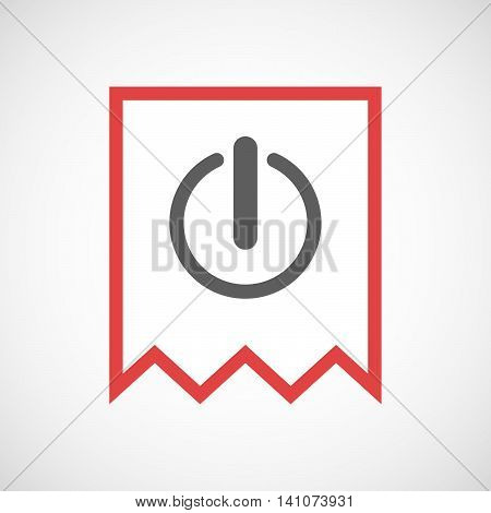 Isolated Line Art Ribbon Icon With An Off Button