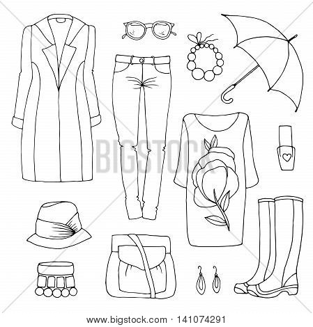 Vector drawing set spring-summer fashion for rainy weather clothes. Rainy day. Various objects: coat, jeans, bracelet, necklace, hat, bag, umbrella, rubber boots, nail polish. on a white background