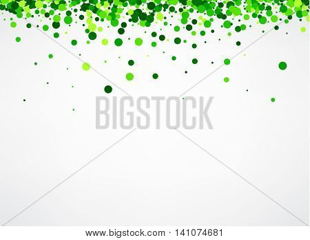 White paper background with green confetti. Vector illustration.