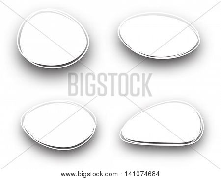 Set of white oval backgrounds. Vector paper illustration.