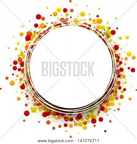 Paper round white background with color drops. Vector illustration.