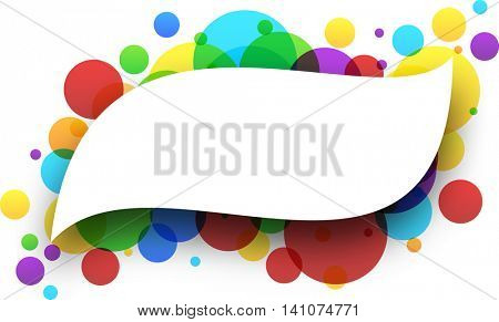 Paper figured white background with color bubbles. Vector illustration.