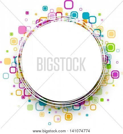 White round background with colour geometric pattern. Vector paper illustration.
