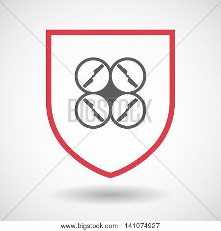 Isolated Line Art Shield Icon With A Drone
