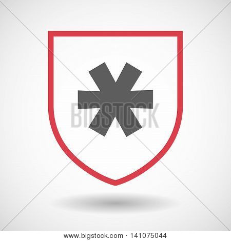 Isolated Line Art Shield Icon With An Asterisk
