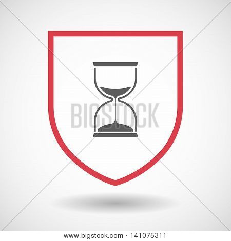 Isolated Line Art Shield Icon With A Sand Clock