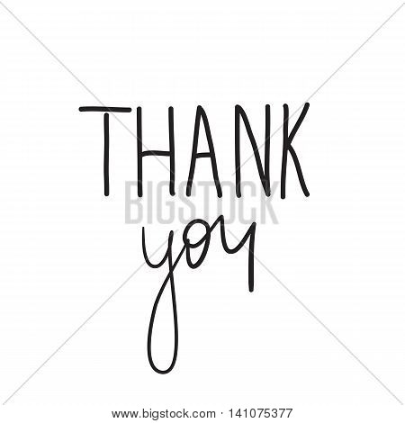 Lettering with the words thank you black on white background. Poster with gratitude on Thanksgiving Day. Vector illustration.