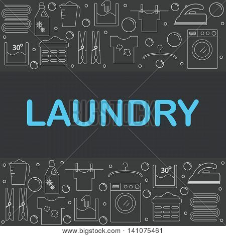 Web icons set laundry. The poster or a banner in the style of the line on a dark background laundry. vector illustration.