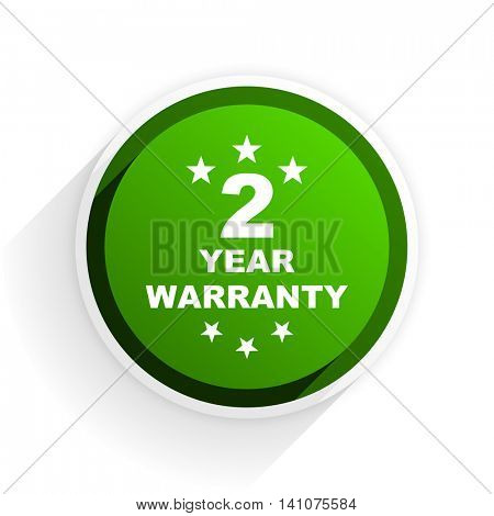 warranty guarantee 2 year flat icon with shadow on white background, green modern design web element