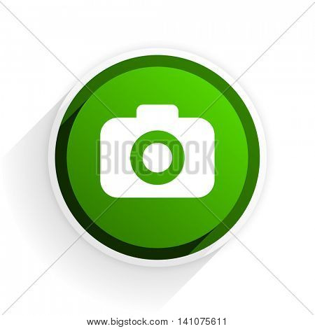photo camera flat icon with shadow on white background, green modern design web element