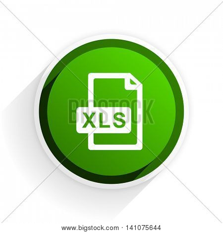 xls file flat icon with shadow on white background, green modern design web element