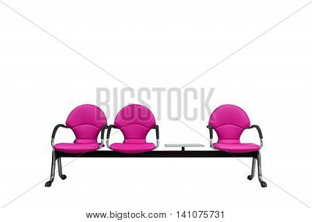 Isolated Pink Modern Seats On White