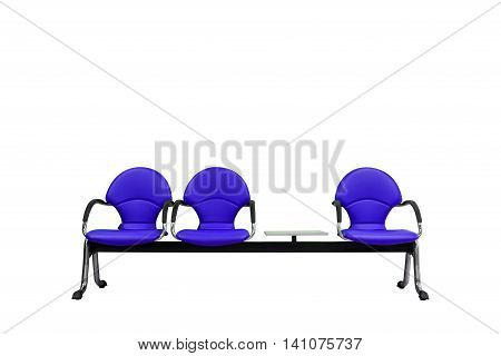 Isolated Blue Modern Seats On White