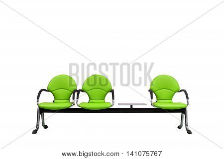 Isolated Green Modern Seats On White