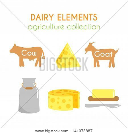 Vector dairy illustrations. Cow and goat cartoon illustration. Milk and cheese icons design. Slice of butter. Farm fresh products set. Flat argiculture collection.
