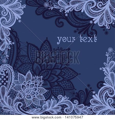 Vector illustration with vintage lace. Lace background with a place for text.