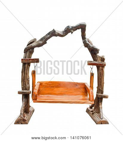 Isolated wooden swing for gardening furniture with clipping path