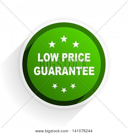 low price guarantee flat icon with shadow on white background, green modern design web element