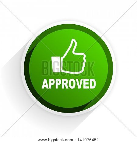 approved flat icon with shadow on white background, green modern design web element