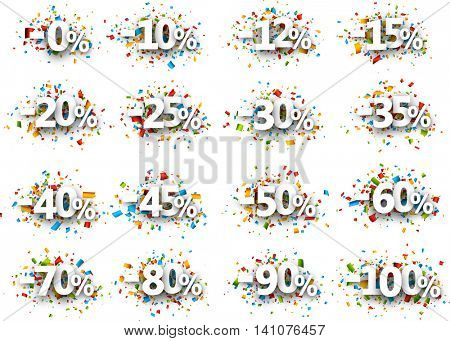 Paper signs set with numbers, percent and confetti. Vector illustration.