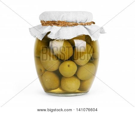 Green olives preserved in bank bottle  canned, olive, full