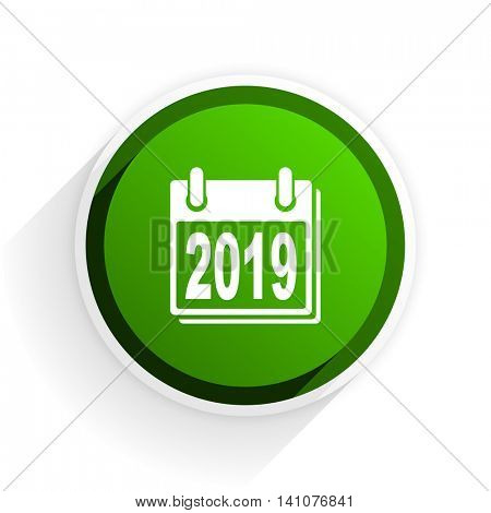 new year 2019 flat icon with shadow on white background, green modern design web element