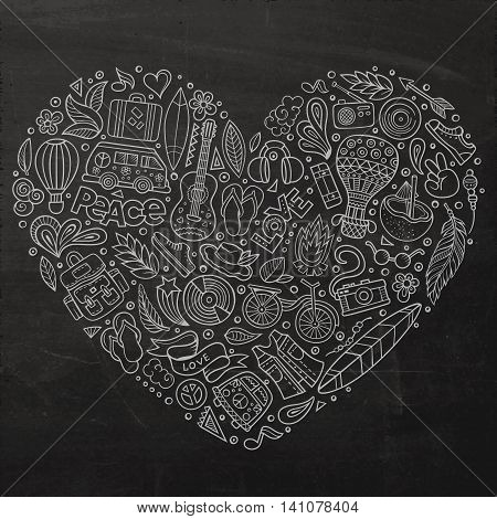Chalkboard vector hand drawn set of Hippie cartoon doodle objects, symbols and items. Heart form composition
