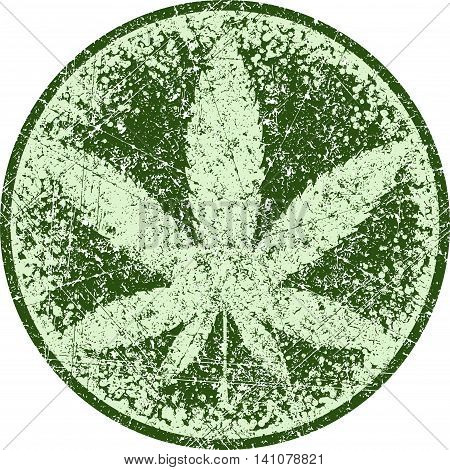 Cannabis or marijuana green vector leaf inscribed in a circle and the aged for your design, logo, icon, illustration.