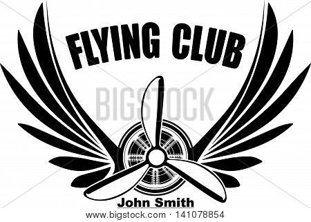 Flying club John Smith abstract logo design with pair of wings and  propeller