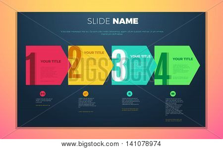 Bright contrast colors infographic with step by step infographic chart boxes text and numbers