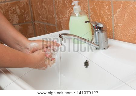 Woman Washing Hands. Cleaning Hands. Hygiene palms