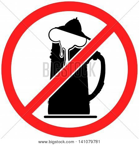 Prohibition sign icon No beer vector illustration with beerglass