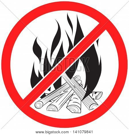 Prohibition sign icon no  bonfire vector illustration