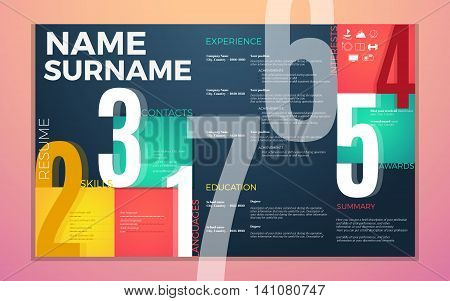 modern cv resume template. Bright contrast colors infographic with curriculum vitae infographic boxes and text